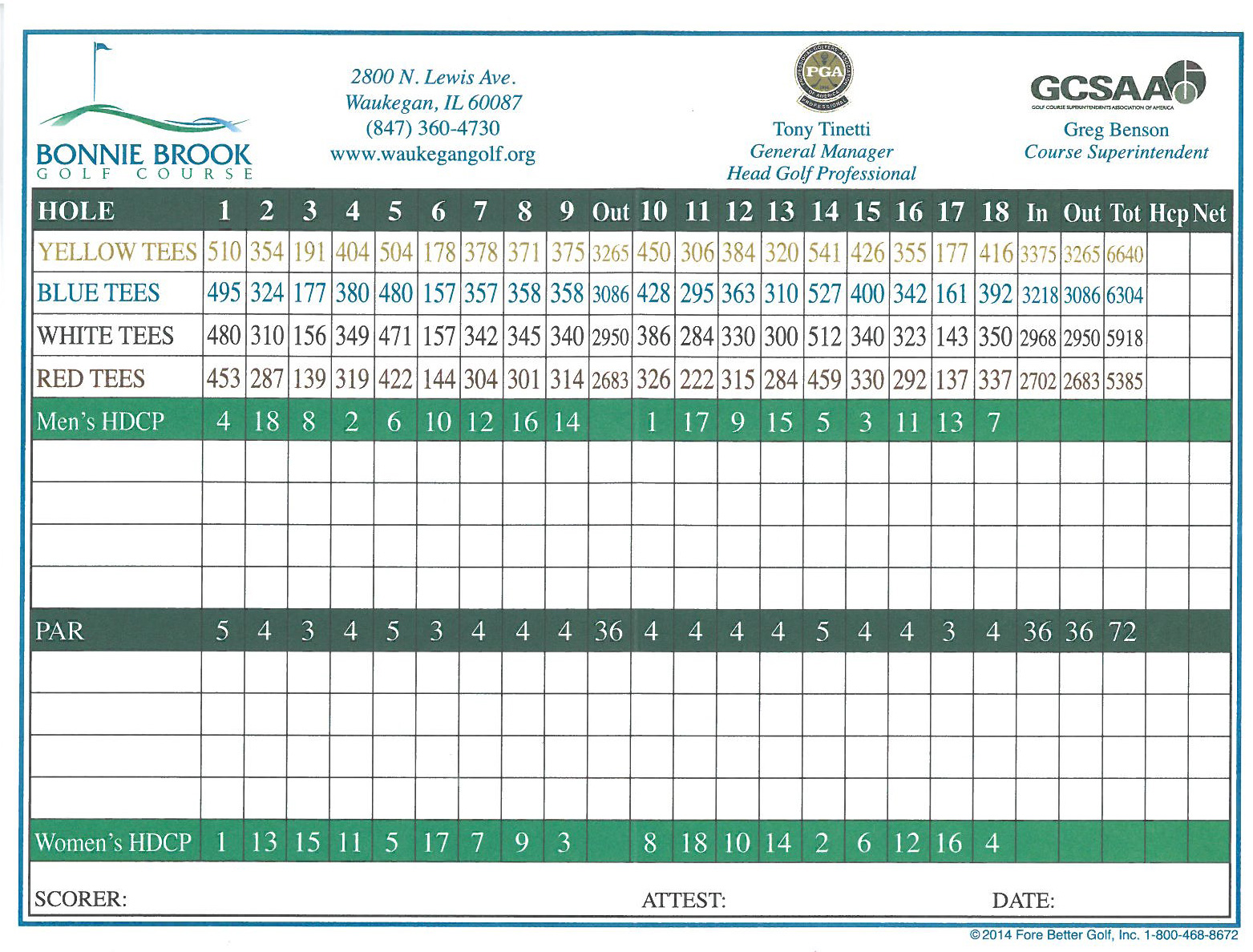 Bonnie Brook Golf Scorecard